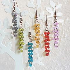 Sea glass style bead long dangling earrings , Green Blue Red Orange Pink Gray