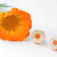 Orange stud earrings handmade from colored pencils - fun and quirky