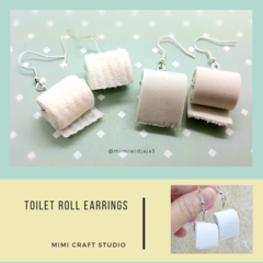 Miniature Toilet paper roll dangle Earrings, cute jewellery
