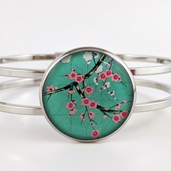 Women's round resin silver cuff bracelet bangle pink green cherry blossom flower