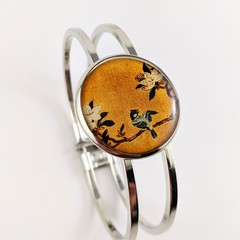 Womens round resin silver cuff bracelet bangle vintage Japanese bird tree floral