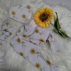 Sunflower Leggings Bib & Headband Baby Girl toddler