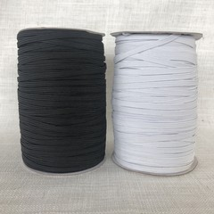 6mm Flat Braided Elastic 182m Spool Roll Blk/Whte Available