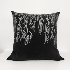 Hand printed Eucalyptus cushion with feather insert
