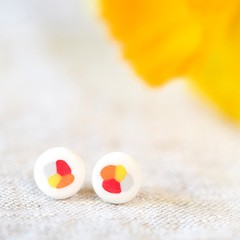 Colorful stud earings, yellow/orange/red tones, handmade, lovely gift