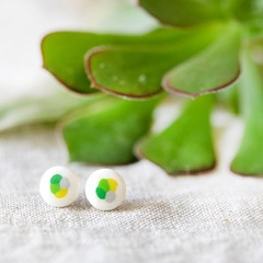 Colorful stud earings, yellow and green tones, handmade