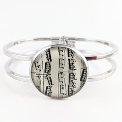 Women's round resin silver cuff bracelet bangle music sheet notes musician print