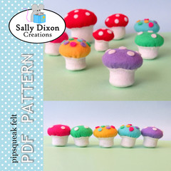 DIGITAL SEWING PATTERN  Spotty Felt Toadstools - Woodland fairy garden mushrooms