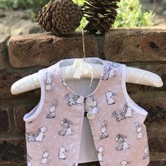Kid's open vest top waistcoat in bunny print