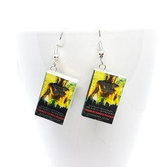 Miniature Book City of Bones  dangle earrings, polymer clay