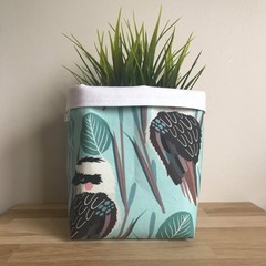 Small fabric planter | Storage basket | Pot cover | AQUA KOOKABURRA
