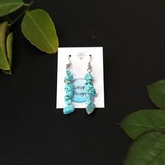 Blue marbled stone beaded earrings