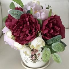 Burgundy,Lilic faux Flower Centrepiece