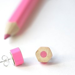Pink earrings handmade from colored pencils - great teacher gift