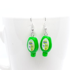 Miniature dettol hand sanitiser dangle earrings, polymer clay