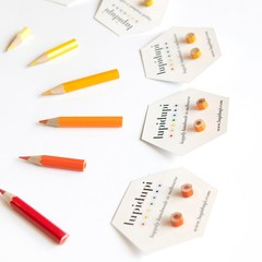 Earrings - studs - handmade from colored pencils - unique jewellery - fun gift -