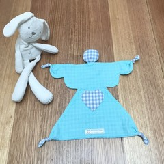 Angel shape baby comforter security blanket blankie in turquoise & blue gingham