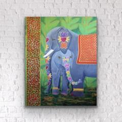 Elephant wall art - Elephant home décor -  Elephant art print - Mother & Child