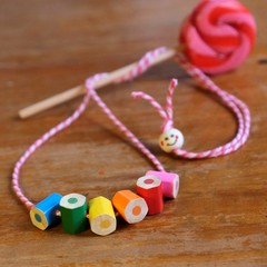 Pink children's necklace made form coloured pencils, fun and quirky