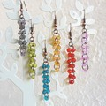 Sea glass style bead long dangling earrings , Green Blue Red Orange Pink Gray