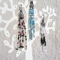 Delicate Long unique modern art beaded tassel / fringe dangling earrings