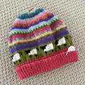 Pink  sheep Beanie - to fit approx size 4-8 years -hand knitted