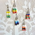 Colourful Boho seed bead short drop earrings , Yellow Green White Red Blue Black
