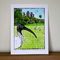 Australian White Ibis Lino Cut Print / Bin Chicken / Australian Bird Animal