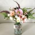 Pink Wildflower faux flower  arrangement in decorated Glass vase