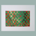 Original Red and Green Mixed Media Weaving Ready to Ship