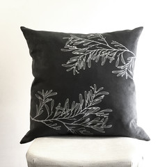 Hand printed Australian Blackwood cushion with feather insert