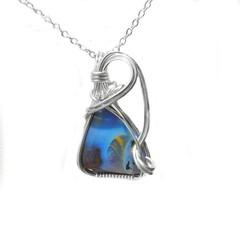 Australian Bouder opal pendant Sterling silver wire wrapped