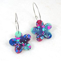Spring Flowers Collection - dark blue, mint & magenta