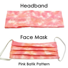 Pink Batik – Pleated Face Mask and Matching Headband