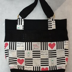 Black and Pink Cotton & Hessian Bag