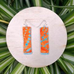 Orange Boho Fabric Earrings