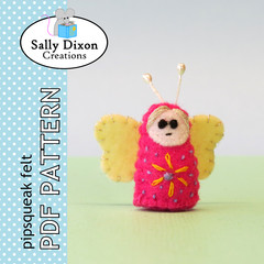 DIGITAL FELT SEWING PATTERN: Flutterby Fairy - miniature woodland butterfly toy