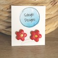 Red flower studs (large)
