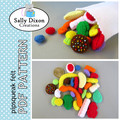 DIGITAL FELT SEWING PATTERN - Aussie Mixed Lollies - Australian Felt play food