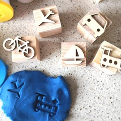 Timber Playdough Stamp Set Transport