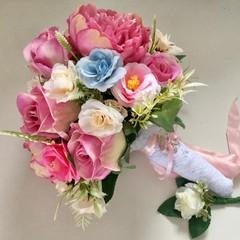 Pink Rose,Peonie  Faux Flower Wedding Bouquet Set