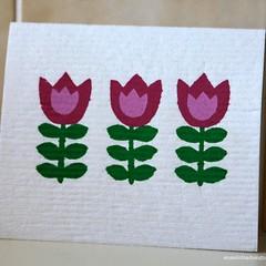 3 Tulips design - hand screen printed Swedish Dish cloth