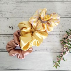 Set of 3 Large 100% Silk Scrunchies