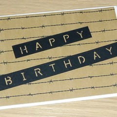 Teenager Happy Birthday card - barbed wire