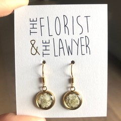 Gold Hanging Earrings with real flowers (Bridal-wreath)
