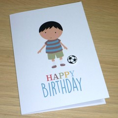 Kids Birthday card  - boy with soccer ball