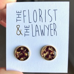 Gold Stainless Steel Stud Earrings with real flowers (Peony)