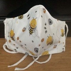 3 Layered Waterproof lined Mask - Honey Bee (ready to ship)