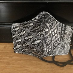 3 Layered Waterproof lined Mask - Black & Silver Brocade (ready to ship)