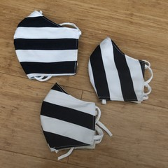 3 Layered Waterproof lined Mask - Navy & White Stripe (ready to ship)